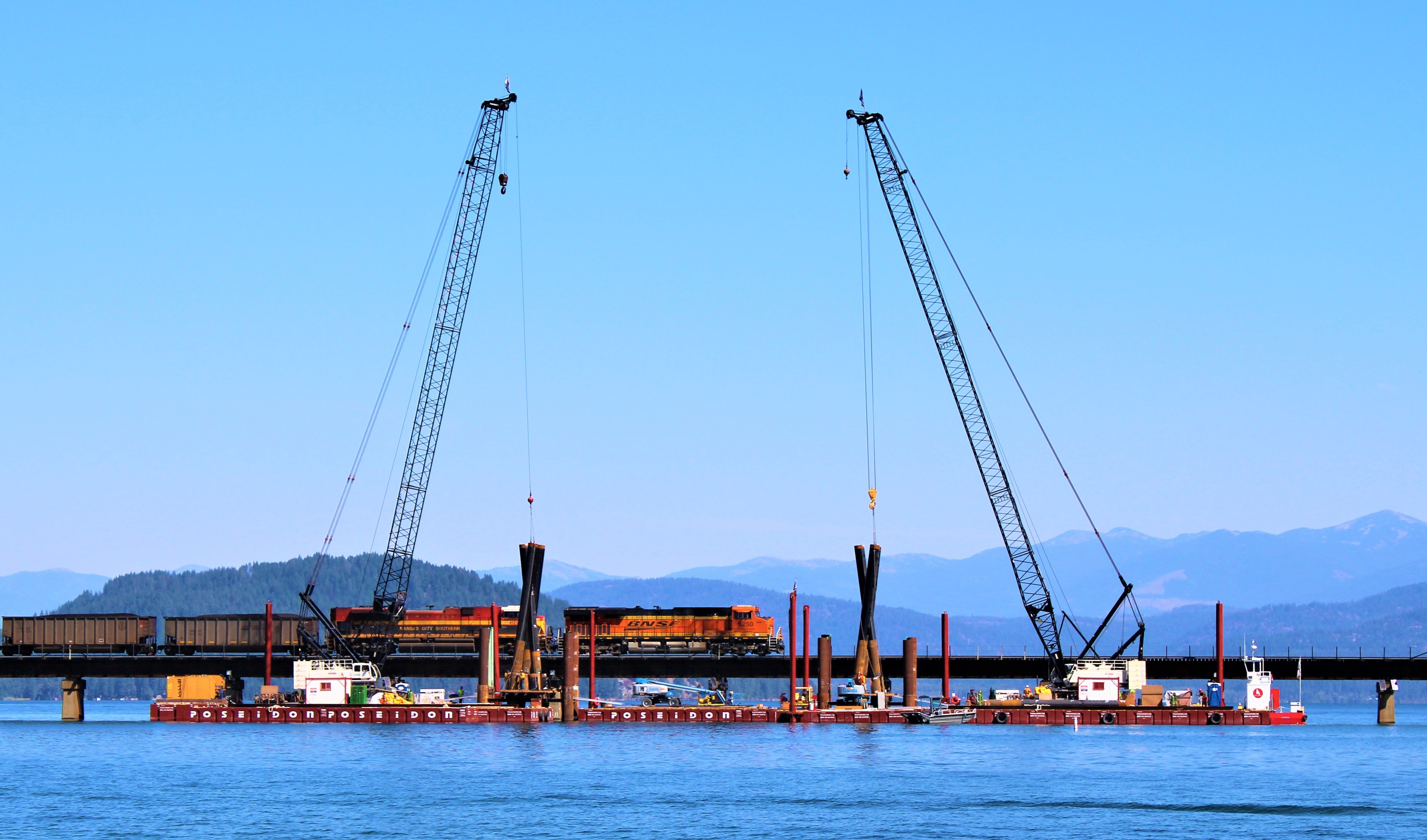 Ames Construction from Burnsville, MN works on the new bridge in Sandpoint, ID
