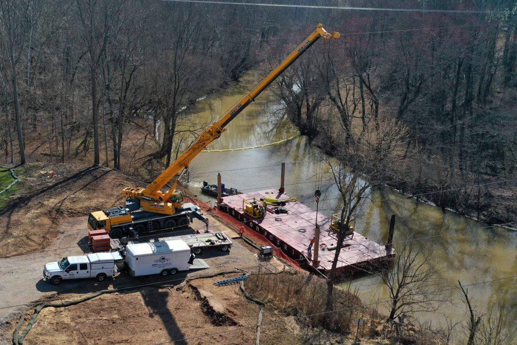Marine Solutions using Poseidon P1's to transport equipment to an island for tree maintenance – Ravenswood, WV